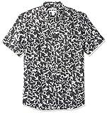 Amazon Essentials - Camisa a cuadros de lino con manga corta para hombre., Negro (black Leaf Print), US M (EU M)