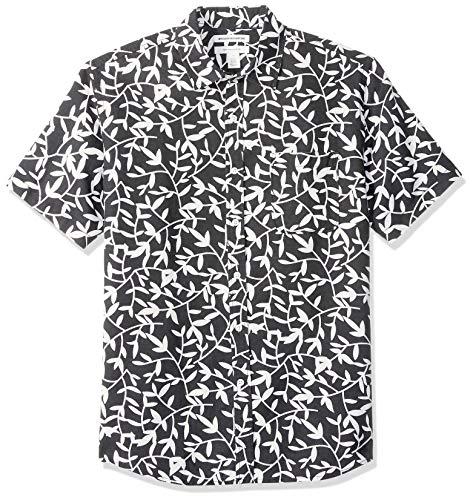 Amazon Essentials - Camisa a cuadros de lino con manga corta