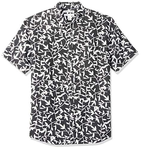 Amazon Essentials Men's Regular-Fit Short-Sleeve Linen Cotton Shirt, Black Leaf Print, Medium