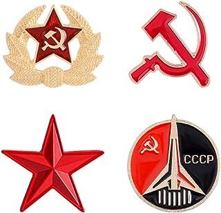 VALICLUD 4 Piezas de Esmalte Comunista Pin Estrella Pin Solapa Pin Vintage Creativo Ruso Broche para Regalos de La Unión S...