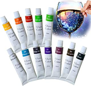 Hapree 12 Colors Stained Glass Paint, Non-Toxic Glass Window Color Paint Set for Wine Bottle, Crystal, Window and Ceramics, 12 x 12ml (0.41 fl. oz)