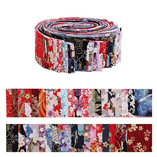 Jelly Roll Fabric Strips for Quilting,40 PCS Roll Cotton Fabric for Sewing with Different Patterns,2.6x41.3 Inches Quilting Fabric Strips for Patchwork Craft DIY