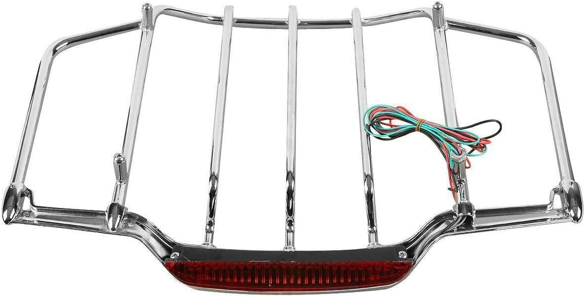 Green-L Black Air-Wing Pack Trunk Luggage Rack with Red LED Light Fit for Harley Touring Road King 1993-2013