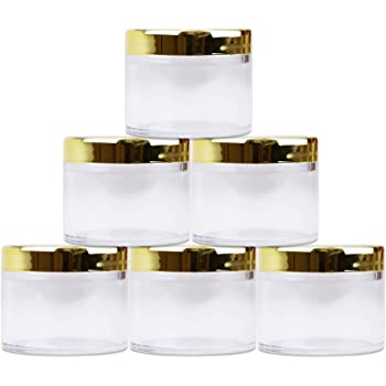Beauticom 2 oz./ 60 Grams/ 60 ML (Quantity: 6 Packs) Thick Wall Round Clear Plastic LEAK-PROOF Jars Container with GOLD Lids for Cosmetic, Lip Balm, Lip Gloss, Creams, Lotions, Liquids