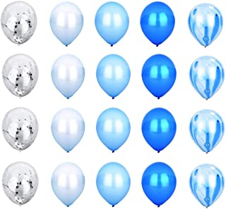 Blue Style Decoration Balloon Set - Blue Agate Mix Marble Balloon, White Balloon, Blue Balloon, Light Blue Balloon, Silver Confetti Transparent Balloon - 12
