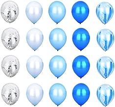 Blue Style Decoration Balloon Set - Blue Agate Mix Marble Balloon, White Balloon, Blue Balloon, Light Blue Balloon, Silver Confetti Transparent Balloon - 12