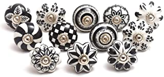 Eleet Designer Ceramic Cabinet Knobs - Pack of 12 Black & White Hand Painted Vintage Cabinet Cupboard Door & Drawer Pulls ...