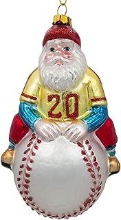 BestPysanky Santa Baseball Player Glass Christmas Ornament 5 Inches