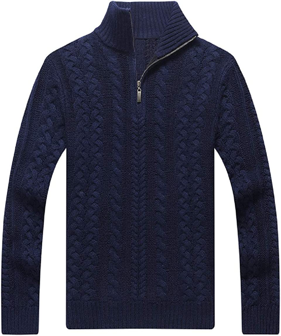 CHARTOU Men's Henley Quarter-Zip Chunky Cable Knit Solid Sweater Pullover