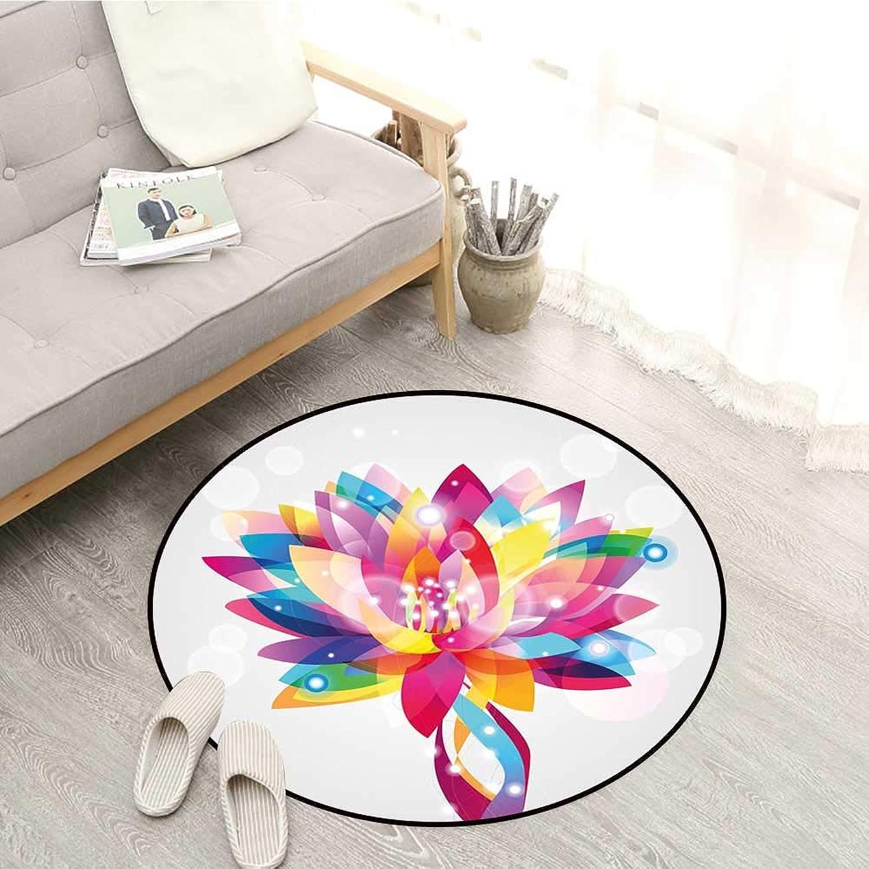 Lotus Non-Slip Rugs Rainbow colord Lotus Petals in Vibrant Hippie color Tones Mystic Purity Illustration Sofa Coffee Table Mat 4'11  Multicolor