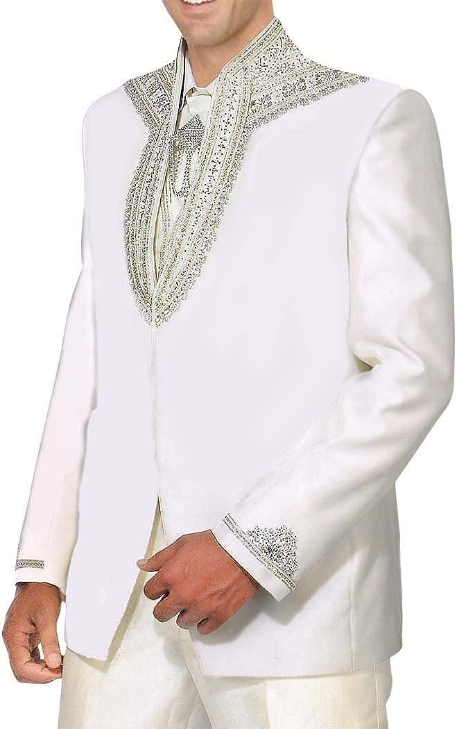 INMONARCH Mens White 5 Pc Tuxedo Suit Designer Engagement TX197