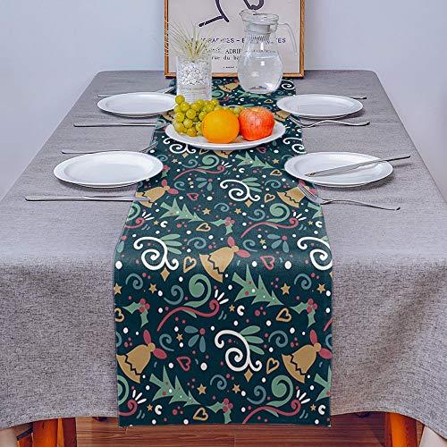 Camino De Mesa,Campanas De Árbol De Navidad De Estilo Nórdico sobre Fondo Verde Rectangular Mantel Lavable para Mantel De Cocina Mantel para Fiestas Restaurantes Decoración para El Hogar, 33 * 22
