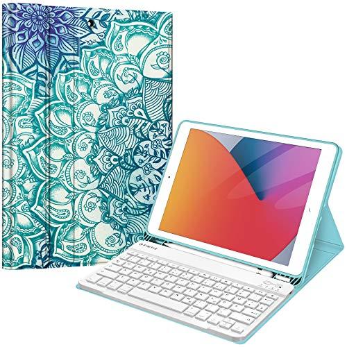 Fintie Tastatur Hülle für iPad 10.2 Zoll (8. und 7. Generation - 2020/2019), Soft TPU Rückseite Gehäuse Schutzhülle mit Pencil Halter, magnetisch Abnehmbarer Tastatur mit QWERTZ Layout, smaragdblau
