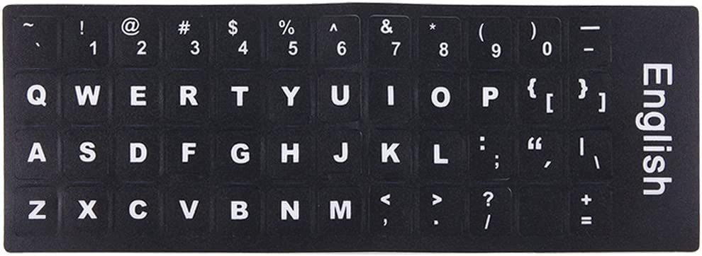 Alice Keyboard Keyboard Film Cover Independent Paste English Keyboard Stickers for Laptop Notebook Computer Keyboard Color : Black Black