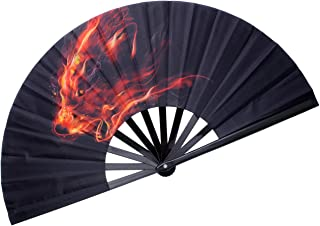 HONSHEN Decorative Folding Fans Folding Fan Chinese Japanese Hand Fan Rave Fan Nylon-Cloth Fan Dance Fans for Women/Men (F...