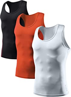 ATHLIO 3 Pack Men's Cool Dry Compression Sleeveless Tank Top, Sports Running Basketball Workout Base Layer