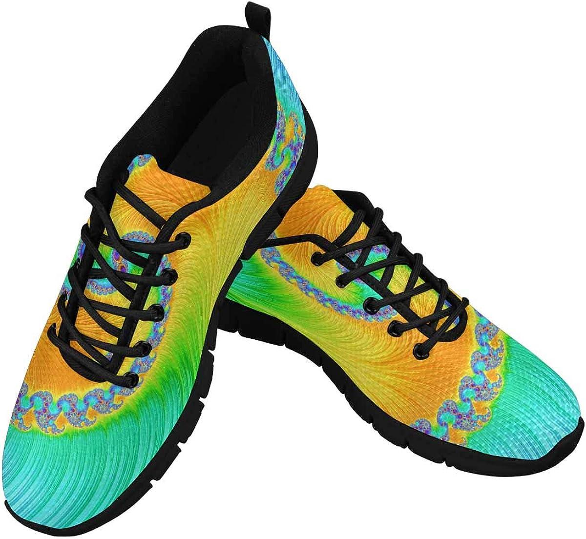 INTERESTPRINT Feather Fibonacci Pattern Women's Tennis Running Shoes Lightweight Sneakers