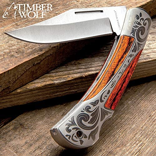 Timber Wolf Gentleman's Pocket Knife - Lock Back, Stainless Steel Blade (Wood)