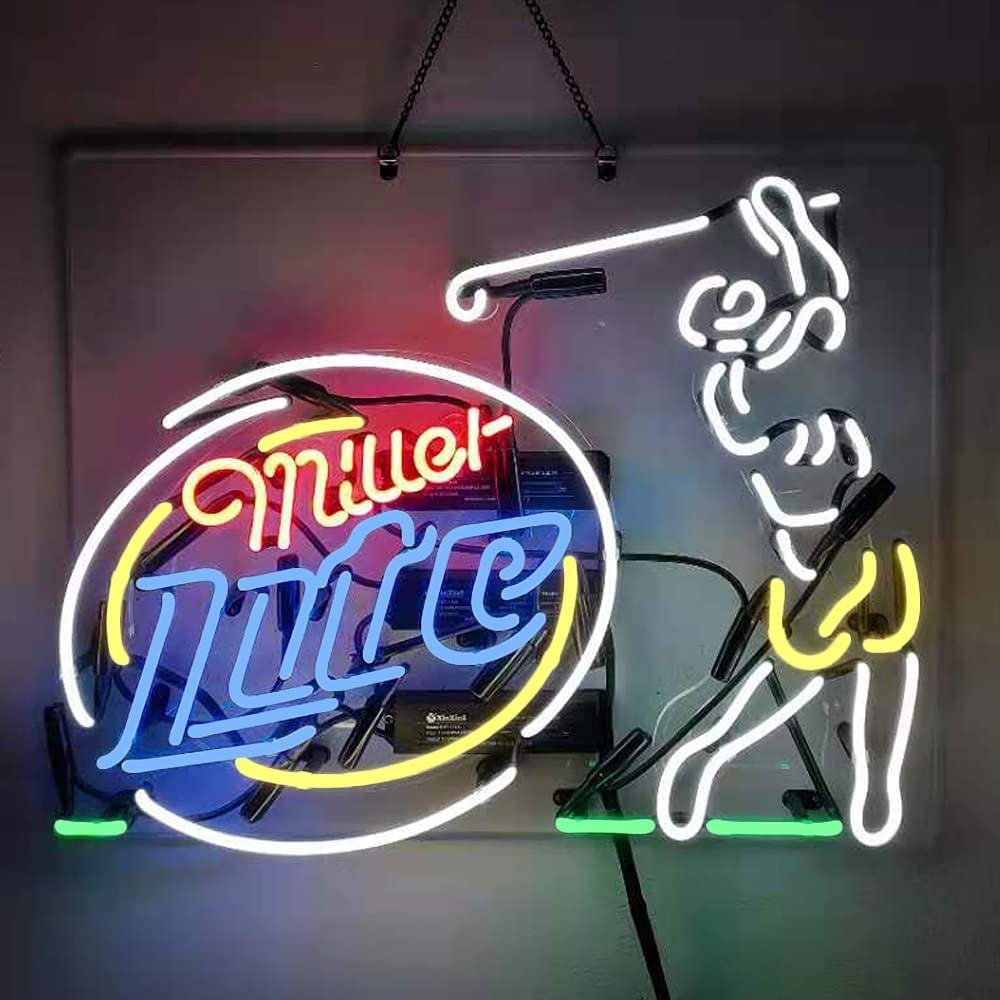Miller Fees free!! Lite Golf Beer Quantity limited Neon Signs Party Glass Real W Pub Bar