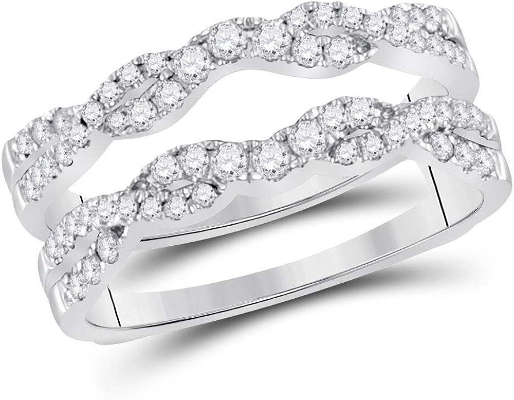 14kt White Gold Womens Round Diamond Wrap Ring Guard Enhancer 1/2 Cttw