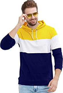 LEWEL Men's Colorblock Hooded Full Sleeve T-Shirts (Yellow, White,Blue)
