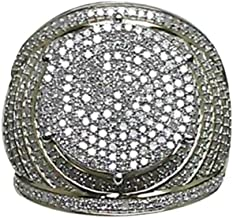 Ring Jewelry, Gold Round Full Diamond Band Micropave Mens Bling Ring (6,Gold)