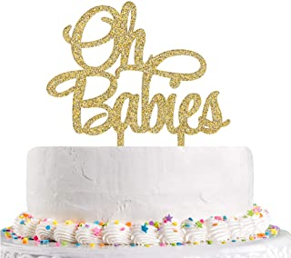 Gold Glitter Oh Babies Cake Topper Twins Baby Shower 1st 2nd 3rd Birthday Party Decoration Supplies(Acrylic)