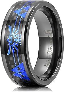 THREE KEYS JEWELRY Black Carbon Fiber 8mm Titanium Zirconium Rings for Men Wedding Ring Band