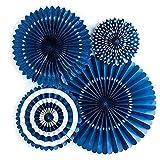 Una varietà di ventagli di carta pieghevoli per feste di compleanno, decorazioni di nozze. blu navy