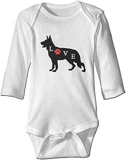 Cute Baby Boys Girls Romper Bodysuit German-Shepherd Love Dog Paw Infant Kawaii Jumpsuit Outfit Long Sleeves