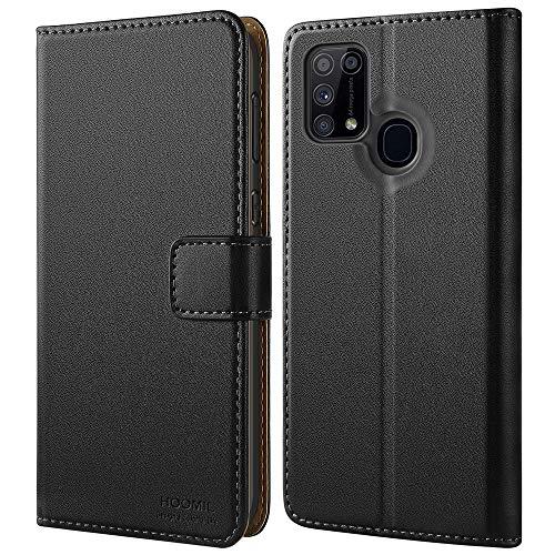 HOOMIL Handyhülle für Samsung Galaxy M31 Hülle, Premium PU Leder Flip Hülle Schutzhülle für Samsung Galaxy M31 Tasche, Schwarz