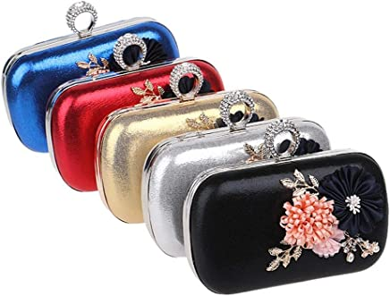 Ladies Handbag Flower Women Evening Bags Finger Ring Diamonds Metal Day Clutches with Chain Shoulder Purse Evening Bags for Party Bag (Size : Red)