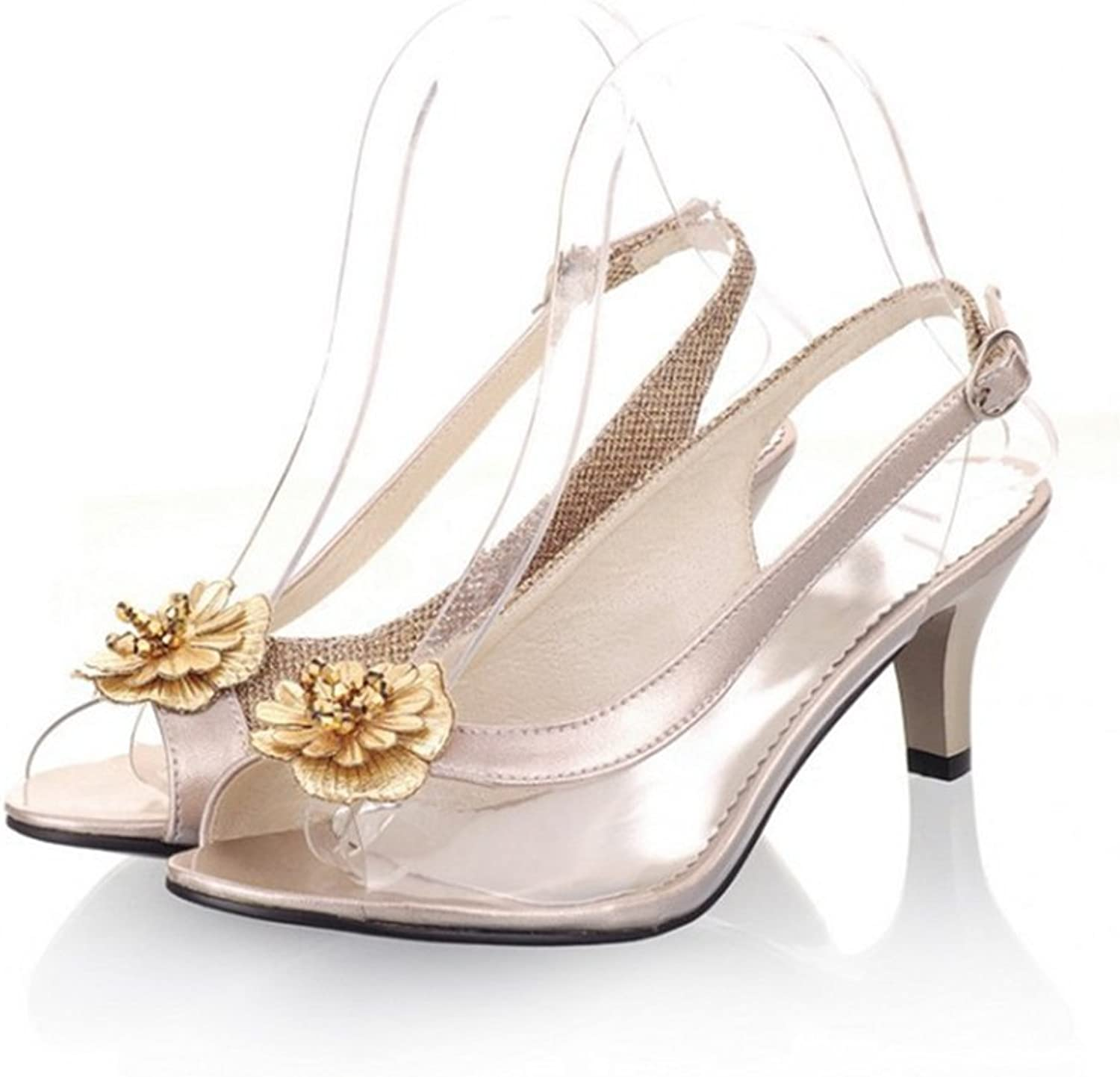 GIY Womens Fashion Clear Crystal Peep Toe High Heel Sandals with Flower Platform Glitter Dress Sandals