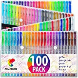 100 Penne Gel Colorate Zenacolor con Astuccio - Set Extra Large - 100 Colori Unici (Zero Doppioni) – Con Inchiostro Fluido della Migliore Qualità - Ottime per la Colorazione di Libri per Adulti