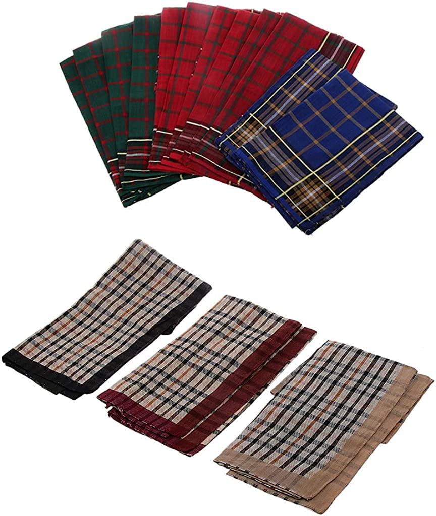 Harilla 24pcs Handkerchief Square Cotton Handkerchiefs Square Clothing
