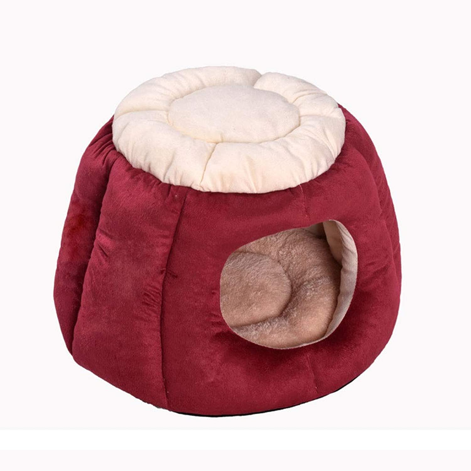 BarryL Dog Bed Cat Bed Cylindrical or round Fleece Nesting Dog Cave Bed Pet Cat Bed for Cats and Small Dogs Pet Bed (color   Red, Size   50  35cm)
