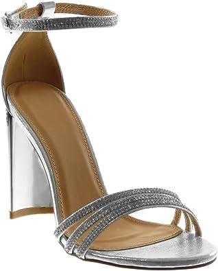 Angkorly - Scarpe Moda Sandali con Cinturino alla Caviglia Donna Strass Multi-Briglia Tacco a Blocco Alto 10 CM