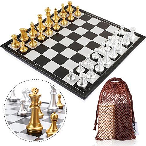 Peradix Schachspiel & Damespiel Deluxe 2-in-1 Schach mit 35.6*35.6cm Magnetischem Faltbarem Schachbrett Gro?