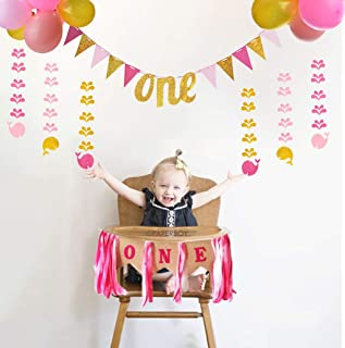 PIXHOTUL 1st Birthday Girl Decorations Kit - ONE High Chair Banner, Pink Gold Birthday Banner, 6 Pcs Glitter Hanging Whales and 40 Pcs Balloons for Baby Shower