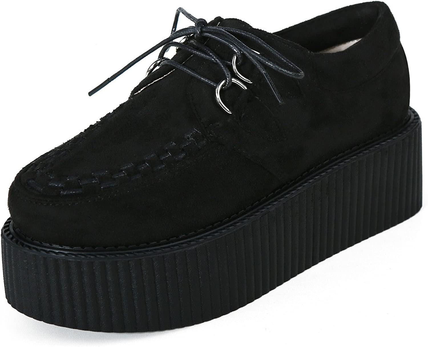 pinkG Women's Suede Lace Up Oxfords Flat Platform Creepers Punk shoes