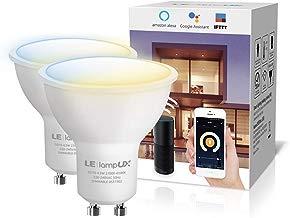 LE LampUX Bombillas Inteligentes GU10, Bombilla WIFi Funciona con Alexa y Google Home, Blanco Cálido a Frío, Regulable, No Requiere Hub,Paquete de 2(410lm, 4.5W=50W, 2700K-6500K, 2.4GHz WiFi)