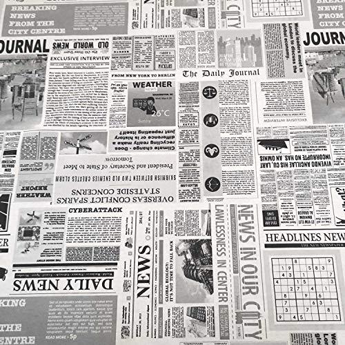 Stoff Meter Zeitung Baumwolle pflegeleicht schwarz weiß Tischdecke