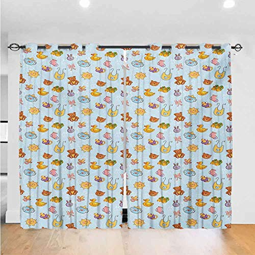 Mozenou Baby Solid Color Curtains Newborn Sun Teddy Bear Ribbon Feeder Pacifier Chick Kitty Cat Design The Best Choice for Bedroom and Living Room W96xL108 Pale Blue Cinnamon Apricot