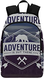 Adventure Durable Backpack,Adventure Logo with a Motivational Quote Hatchets and Bear Mountain Landscape Decorative for Adults,11.81