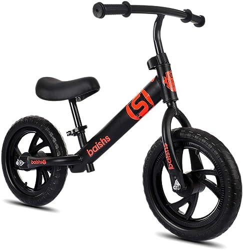 echa un vistazo a los más baratos Bicicleta de equilibrio, equilibrio, equilibrio, bicicleta de equilibrio deportivo sin pedal bicicleta a pie con marco de acero al carbono manillar ajustable y asiento 160lbs capacidad para edades de 2 a 6 años de edad,negro  precioso