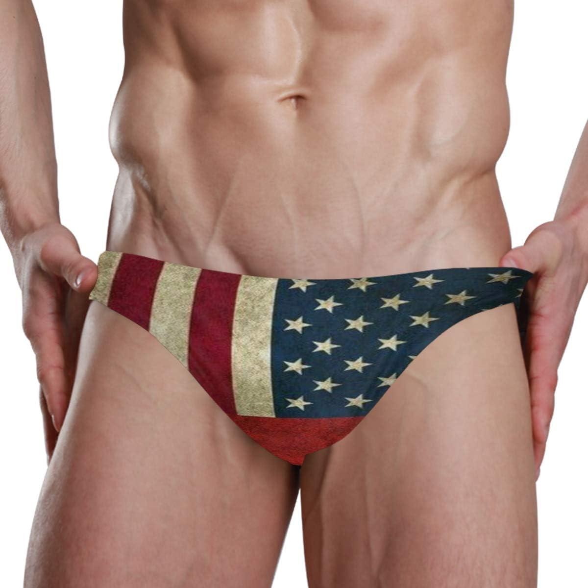 American Flag British Sexy Mens Swimwear Swim Briefs Bikini Brazilian Cut Surf Board Shorts