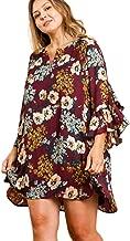 Umgee Fall Floral Print Ruffle Bell Sleeve Dress