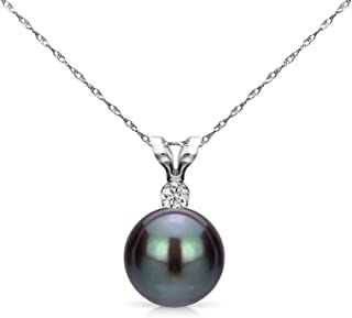 Black Cultured Freshwater Pearl Diamond Pendant Necklace 14K Gold 7-7.5mm (G-H, SI1-SI2) - Choice of Gold Color