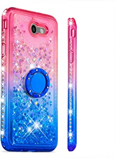 Case for Galaxy J7 (2017)/J720,Brilliant Diamond-Set Side Finger Ring Stand Holder Floating Quicksand with Sparkling Moving Sequins Soft TPU Case Compatible with Samsung Galaxy J7 (2017)/J720