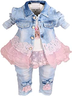 Baby Girls Denim Clothing Sets 3 Pieces Sets T Shirt...